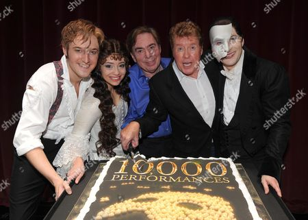 Phantom of the Opera Celebrates Its 10 000th Performance at the Matinee at Her Majesty's Theatre Haymarket London L to R Raoul Vicomte De Chagny Played by Will Barratt Sofia Escobar Who Plays Christine DaaŽ Lord Andrew Lloyd Webber Michael Crawford Scott Davies the Phantom *** Local Caption ***