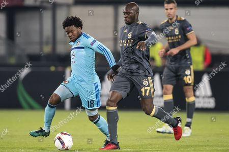 (L-R) Miquel Nelom of Feyenoord, Moussa Sow of Fenerbahce SK