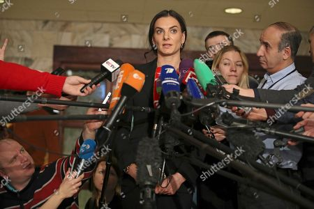 Former Russian pole vaulter Yelena Isinbayeva speaks to the media in Moscow, Russia, . Pole vault great Yelena Isinbayeva says she will oppose blanket bans of Russian athletes after being named the head of the suspended Russian anti-doping agency's new supervisory board