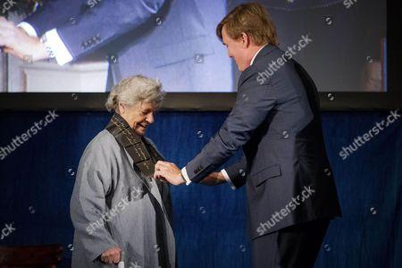 Stock Photo of Dame Antonia Susan Byatt and King Willem-Alexander