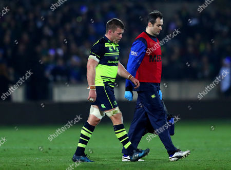 Northampton Saints vs Leinster. Leinster's Sean O?Brien injured following an incident with Dylan Hartley of Northampton Saints