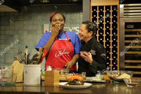 Stock Picture of Macy's on State Street in Chicago celebrates the 8th annual National Believe Day, benefitting Make-A-Wish,, in Chicago. Make-A-Wish kid, Lakayla, gets her wish to be sous-chef for Chef Nancy Silverton