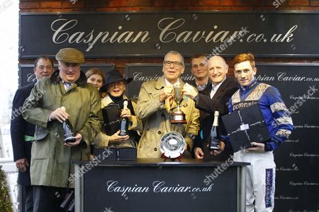 Presentation after Frodon had won the Caspian Caviar Gold Cup at Cheltenham to Paul Nicholls, Sam Twiston-Davies and owners Paul Vogt and Ian Fogg.