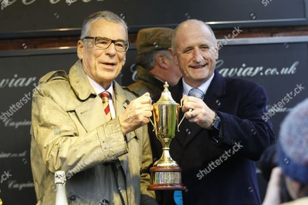 Stock Picture of Owners Paul Vogt [left] and Ian Fogg after Frodon had won the Caspian Caviar Gold Cup at Cheltenham.