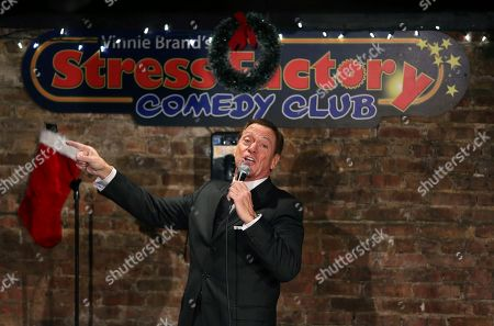 """Joe Piscopo sings an updated """"New York, New York,""""as """"New Jersey, New Jersey"""" during an event to help raise funds for the Boys and Girls Club of America at the Stress Factory Comedy Club, in New Brunswick, N.J. Famous for his SNL portrayal of Frank Sinatra, the actor, comedian and radio host is a potential candidate for governor in 2017 to succeed Republican Gov. Chris Christie"""