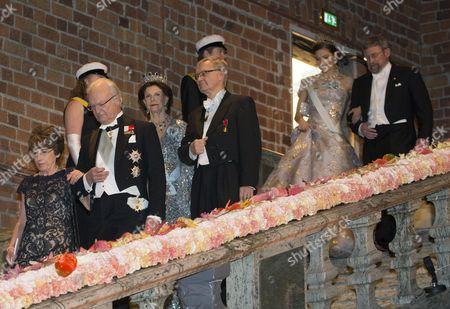 Stock Photo of Odile Belmont, King Carl Gustaf, Queen Silvia, Carl-Henrik Heldin, Crown Princess Victoria, John Michael Kosterlitz