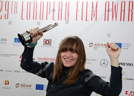 """Stock Photo of Camilla Hjelm Knudsen who was honored with the award as European Cinematographer 2016 Prix Carlo di Palma for the film """"Land of mine"""" poses during the 29th European Film Awards ceremony in Wroclaw, Poland, .The awards are presented annually by the European Film Academy to recognize excellence in European cinema"""