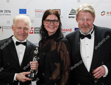 "Hannes Holm, Annica Bellander Rune, Rolf Lassgard The creators of the film ""A Man Called Ove,"" from left to right, director Hannes Holm, producer Annica Bellander Rune and actor Rolf Lassgard pose with the award for best European Comedy after the 29th European Film Awards ceremony in Wroclaw, Poland, . The awards are presented annually by the European Film Academy to recognize excellence in European cinema"