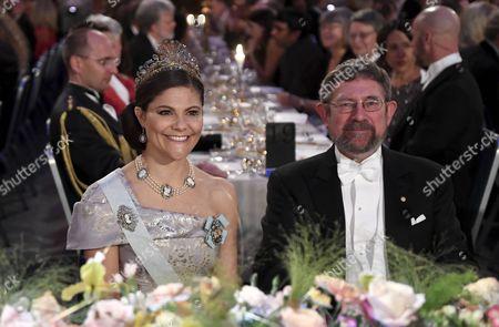 Stock Image of Crown Princess Victoria and Physics Nobel Prize laureate John Michael Kosterlitz at the 2016 Nobel Banquet