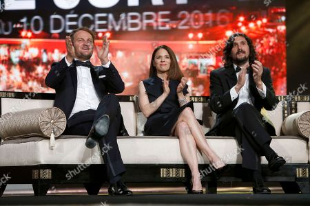 Jury members Jason Clarke, Suzanne Clement, Lisandro Alonso attend the closing ceremony of the the 16th Marrakech International Film Festival in Marrakech, Morocco