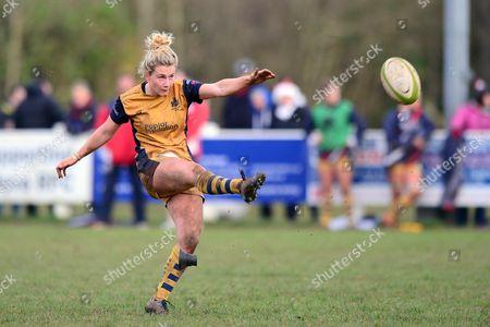 Meg Jones of Bristol Ladies scores a conversion