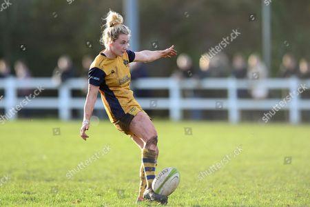 Meg Jones of Bristol Ladies kicks a conversion