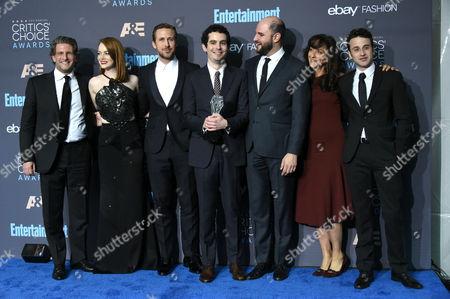 Gary Gilbert, Emma Stone, Ryan Gosling, Damien Chazelle, Jordan Horowitz, Mary Zophres and Justin Hurwitz
