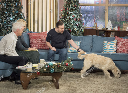 Phillip Schofield and Holly Willoughby with Ricky Gervais and Luna