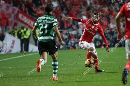 Benfica's midfielder Rafa Silva vies with Sporting's defender Joao Pereira (L )