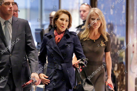 Kellyanne Conway, Carly Fiorina Former presidential candidate Carly Fiorina, center, is escorted by Kellyanne Conway, right, as she arrives at Trump Tower, in New York