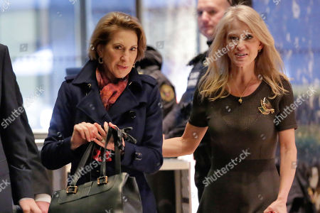 Kellyanne Conway, Carly Fiorina Former presidential candidate Carly Fiorina, left, is escorted by Kellyanne Conway as she arrives at Trump Tower, in New York