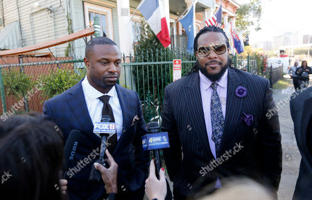 Stock Photo of Bart Scott, left, Willie Colon Former NFL players and teammates of Joe McNight Bart Scott, left, and Willie Colon, talk to reporters as they arrive at at funeral services for the former NFL football player at the New Home Family Worship Center in New Orleans, . McKnight was shot and killed Dec. 1 during a road rage incident in suburban New Orleans