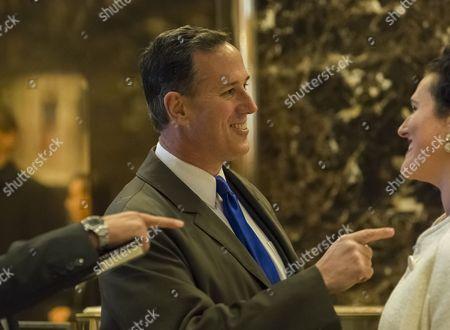 Former United States Senator Rick Santorum (Republican of Pennsylvania) is seen in the lobby of Trump Tower