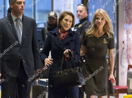Former Republican presidential primary candidate Carly Fiorina is seen in the lobby of Trump Tower