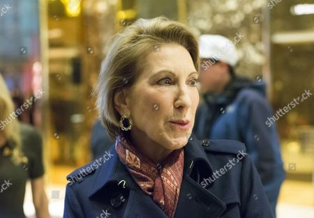 Carly Fiorina speaks with the press in the lobby of Trump Tower following her meeting with President-elect Donald Trump