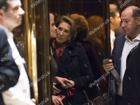 Former Republican presidential primary candidate Carly Fiorina is seen in an elevator in lobby of Trump Tower