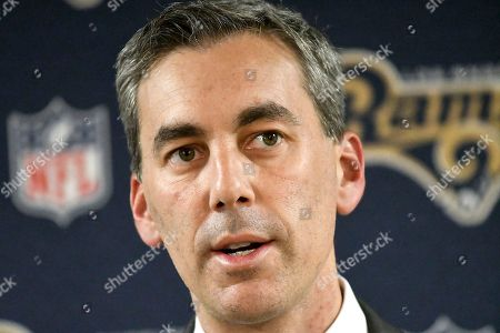 Kevin Demoff, the Rams' executive vice president, announces the firing of head coach Jeff Fisher at the NFL football team's training facility at California Lutheran University in Thousand Oaks, Calif., . John Fassel, the team's special teams coach, will replace Fisher on an interim basis for the final three games of this season. The team's coach since 2012, Fisher compiled a 31-45-1 record with the Rams and oversaw the move from St. Louis to Los Angeles this past offseason