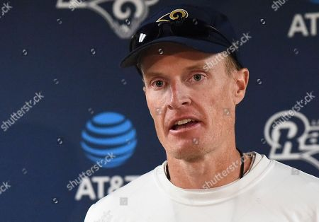Los Angeles Rams interim head coach John Fassel addresses the media at the team's training facility at California Lutheran University in Thousand Oaks, Calif., . Fassel, the team's special teams coach, will replace Jeff Fisher on an interim basis for the final three games of this season. The team's coach since 2012, Fisher compiled a 31-45-1 record with the Rams and oversaw the move from St. Louis to Los Angeles this past offseason