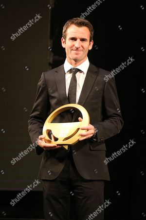 WEC Championship driver, Romain Dumas with the wheel of gold