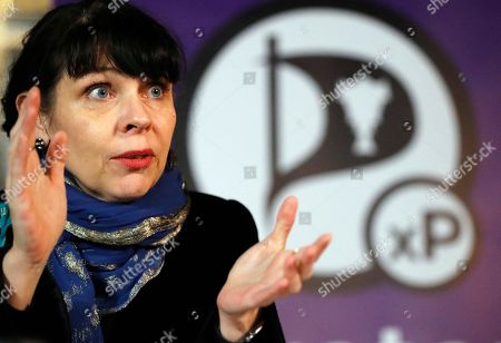 Stock Picture of Birgitta Jonsdottir of the Pirater (Pirate) Party addresses the media during a conference in Reykjavik, Iceland, . No party emerged Sunday with a clear mandate to form a government from Saturday's election, with the Pirate Party placed third, behind the Independence Party and the Left-Green movement