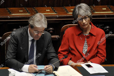 Stock Picture of Prime Minister Paolo Gentiloni with Anna Finocchiaro Minister Relationships