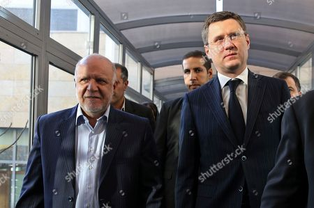 Bijan Zanganeh, Alexander Novak Iranian Oil Minister Bijan Zanganeh, left, and Russian Energy Minister Alexander Novak walk to a meeting in Tehran, Iran