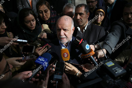 Iranian Oil Minister Bijan Zanganeh speaks with journalists after his meeting with Russian Energy Minister Alexander Novak, in Tehran, Iran