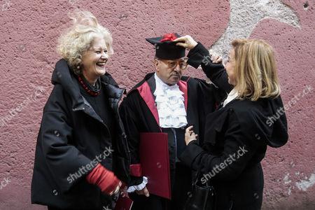 Gabriella Pescucci with Dante Ferretti and wife Francesca Lo Schiavo