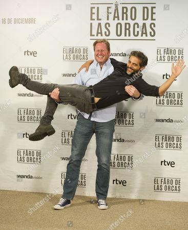 Stock Image of Spanish director Gerardo Olivares and Argentinian actor Joaquin Furriel