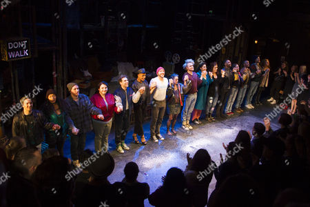 Billy Cullum (Mark Cohen), Layton Williams (Angel Schunard), Ryan O'Gorman (Tom Collins), Philippa Stefani (Mimi Marquez), Ross Hunter (Roger Davis), Shanay Holmes (Joanne Jefferson), Lucie Jones (Maureen Johnson) and members of the cast during the curtain call