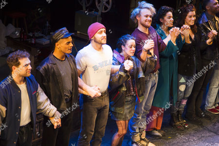 Billy Cullum (Mark Cohen), Layton Williams (Angel Schunard), Ryan O'Gorman (Tom Collins), Philippa Stefani (Mimi Marquez), Ross Hunter (Roger Davis), Shanay Holmes (Joanne Jefferson) and Lucie Jones (Maureen Johnson) during the curtain call