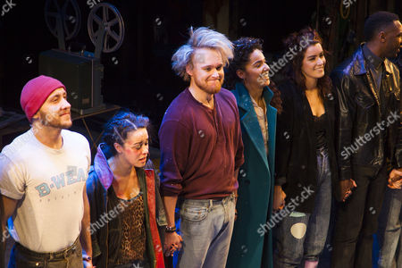 Ryan O'Gorman (Tom Collins), Philippa Stefani (Mimi Marquez), Ross Hunter (Roger Davis), Shanay Holmes (Joanne Jefferson) and Lucie Jones (Maureen Johnson) during the curtain call