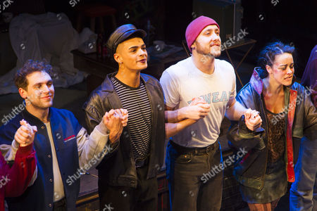 Billy Cullum (Mark Cohen), Layton Williams (Angel Schunard), Ryan O'Gorman (Tom Collins) and Philippa Stefani (Mimi Marquez), Ross Hunter (Roger Davis) during the curtain call