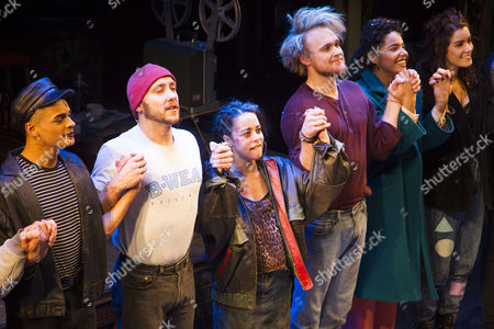 Layton Williams (Angel Schunard), Ryan O'Gorman (Tom Collins), Philippa Stefani (Mimi Marquez), Ross Hunter (Roger Davis), Shanay Holmes (Joanne Jefferson) and Lucie Jones (Maureen Johnson) during the curtain call