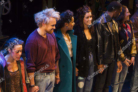 Philippa Stefani (Mimi Marquez), Ross Hunter (Roger Davis), Shanay Holmes (Joanne Jefferson) and Lucie Jones (Maureen Johnson) during the curtain call