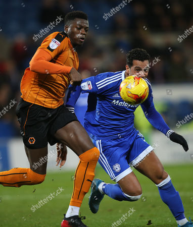 Dominic Iorfa of Wolverhampton Wanderers and Kieran Richardson of Cardiff City compete for the ball