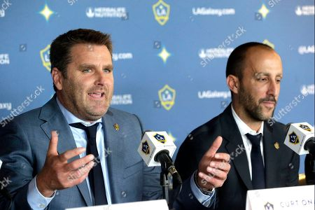 Stock Picture of Curt Onalfo, Peter Vagenas The Los Angeles Galaxy head coach Curt Onalfo, left, with LA Galaxy General Manager Peter Vagenas take questions as Onalfo is introduced as the new head coach at news conference in Carson, Calif., . Onalfo replaces Bruce Arena, who returned to the U.S. national team after guiding the LA Galaxy to three MLS Cup titles.The 47-year-old former LA Galaxy player led the LA Galaxy II to a 41-20-25 record and three consecutive playoff berths, including last year's USL Western Conference championship. Onalfo has won an MLS Cup both as a player and a coach