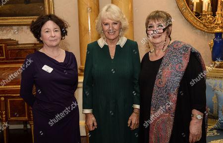 Camilla Duchess of Cornwall with presenter Jenni Murray and Jane Garvey