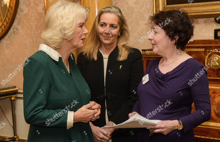 Camilla Duchess of Cornwall with Rona Fairhead and presenter Jane Garvey