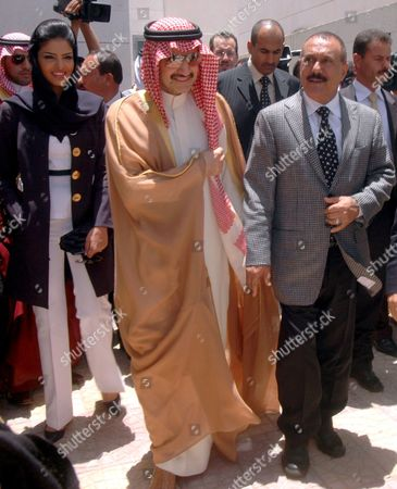 Yemeni President Ali Abdullah Saleh (r) Saudi Prince Al-walid Bin Talal (c) and His Wife Princess Amira Al-tawil Visit the Al-walid Group-funded Resident Complex For the People Who Were Affected by a Landslide at Al-dhafeer Village in Sana'a Province Yemen On 24 May 2009 in December 2005 About 120 People Died in a Landslide That Took Place in Al-dhafeer Village and 12 Houses Were Totally Destroyed