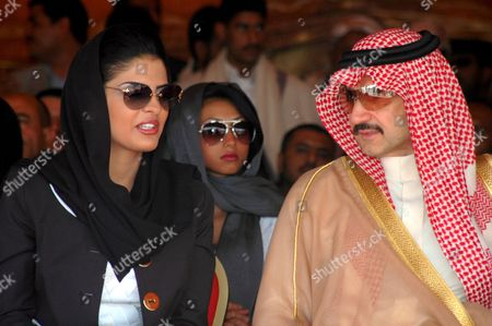 Saudi Prince Al-walid Bin Talal (r) and His Wife Princess Amira Al-tawil (l) Visit the Al-walid Group-funded Resident Complex For the People Who Were Affected by a Landslide at Al-dhafeer Village in Sana'a Province Yemen 24 May 2009 in December 2005 About 120 People Died in a Landslide That Took Place in Al-dhafeer Village and 12 Houses Were Totally Destroyed
