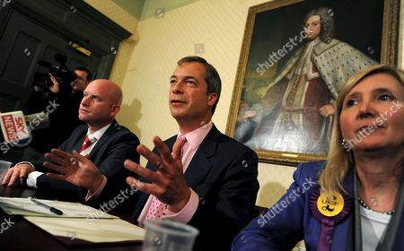 Ukip (united Kingdom Independence Party) Leader Nigel Farage (c) During a Press Conference with Newly Elected Mep's Paul Nutall (l) and Marta Andreasen (r) in London Britain 08 June 2009 Labour Has Suffered Its Worst Post-war Election Result As It Was Beaten Into Third Place by Ukip and Saw the Bnp Gain Its First Seats at Brussels Ukip Which Campaigns For Britain's Withdrawal From the Eu Gained 17 4% of the Vote and Increased Its Number of Meps to 13 Beating Labour Into Third Place