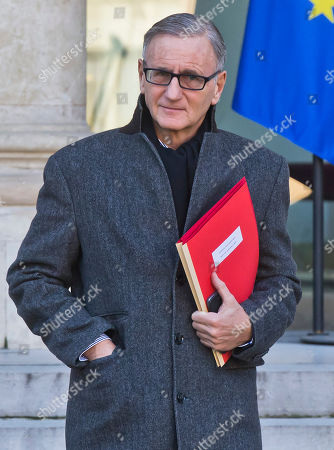 Minister of State for Relations with Parliament Andre Vallini leaves the Elysee Palace after the weekly cabinet meeting in Paris