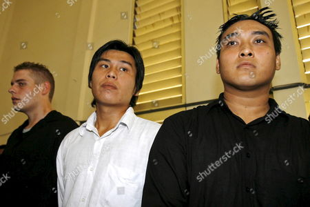 Australian Matthew Norman (l) Tan Duc Thanh Nguyen (r) and Si Yi Chen (c) Three of Six Australian Members of the 'Bali Nine' On Death Row After Their Judicial Review Trial at Denpasar District Court in Bali Indonesia On 25 June 2007 Lawyers Argued That Indonesia's Supreme Court Was Wrong When It Upgraded Their Sentences From 20 Years' Jail to the Death Penalty